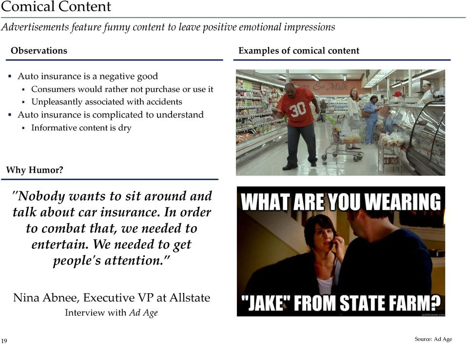 "complicated to understand Informative content is dry Why Humor? ""Nobody wants to sit around and talk about car insurance."