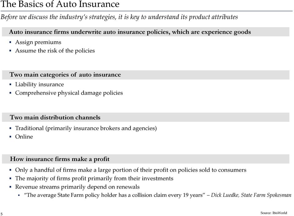 (primarily insurance brokers and agencies) Online How insurance firms make a profit Only a handful of firms make a large portion of their profit on policies sold to consumers The majority of firms