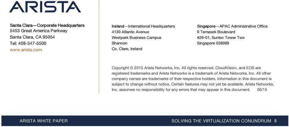 Clare, Ireland Singapore APAC Administrative Office 9 Temasek Boulevard #29-01, Suntec Tower Two Singapore 038989 Copyright 2015 Arista Networks, Inc. All rights reserved.