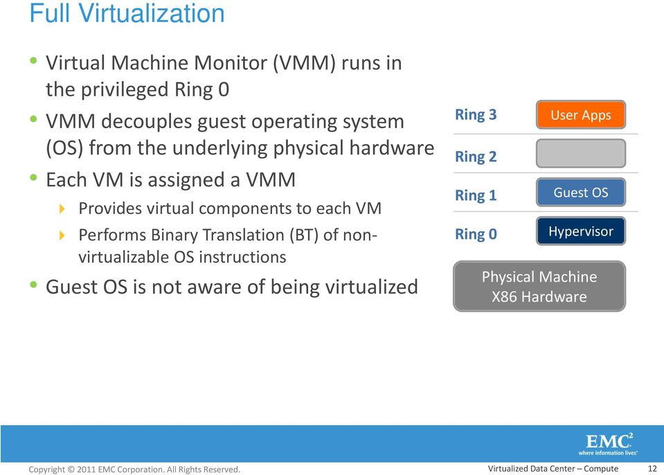 Performs Binary Translation (BT) of nonvirtualizable OS instructions Guest OS is not aware of being virtualized