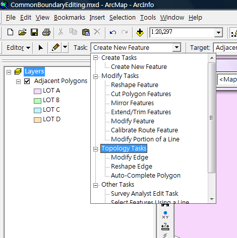 2.3 Click the Task dropdown list on the Editor Toolbar to select Topology Tasks: 2.