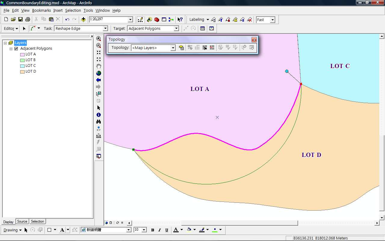 8 Click the Sketch Tool and draw sketch on the common boundary, the diagram