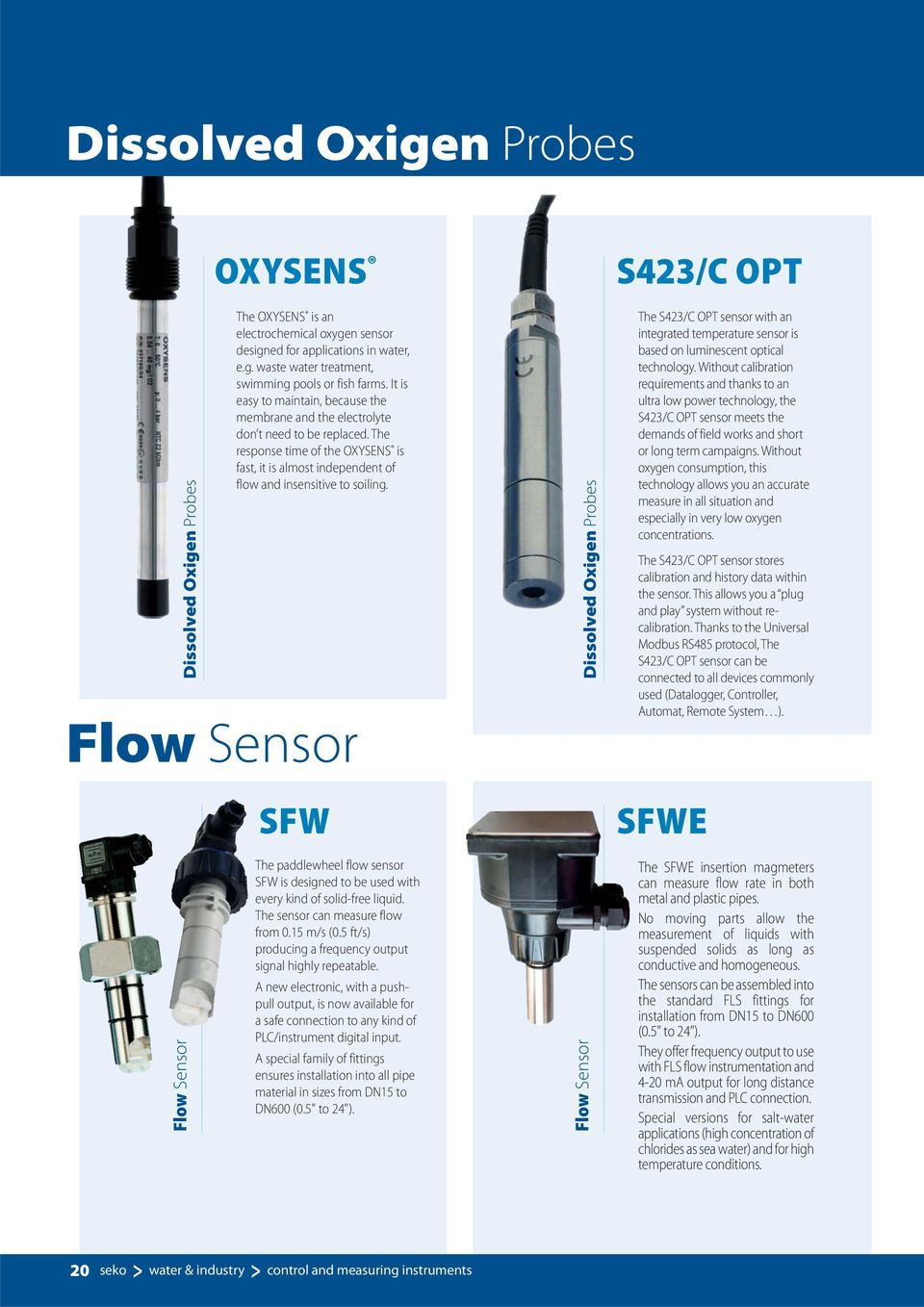 Flow Sensor SFW Dissolved Oxigen Probes S423/C OPT The S423/C OPT sensor with an integrated temperature sensor is based on luminescent optical technology.