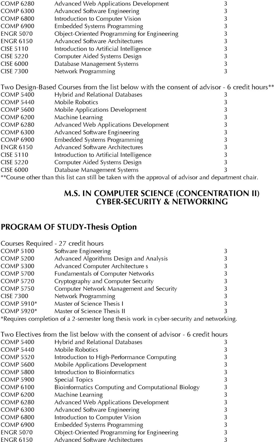 IN COMPUTER SCIENCE (CONCENTRATION II) CYBER-SECURITY & NETWORKING PROGRAM OF STUDY-Thesis Option Courses Required - 27 credit hours COMP 5910*