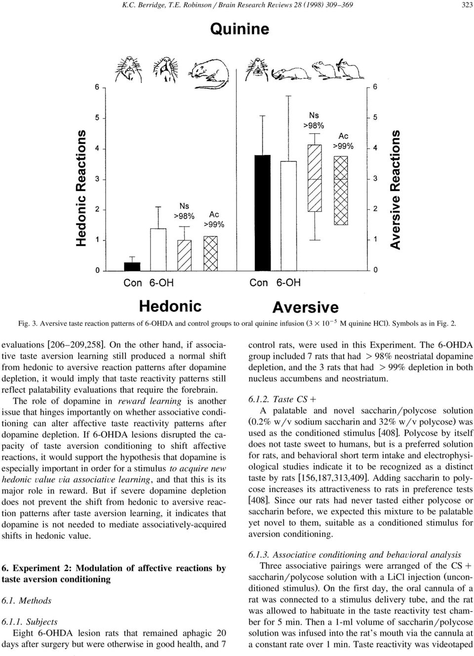 On the other hand, if associative taste aversion learning still produced a normal shift from hedonic to aversive reaction patterns after dopamine depletion, it would imply that taste reactivity