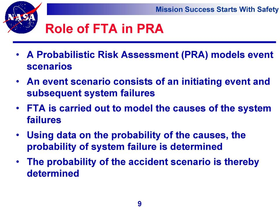carried out to model the causes of the system failures Using data on the probability of the causes, the