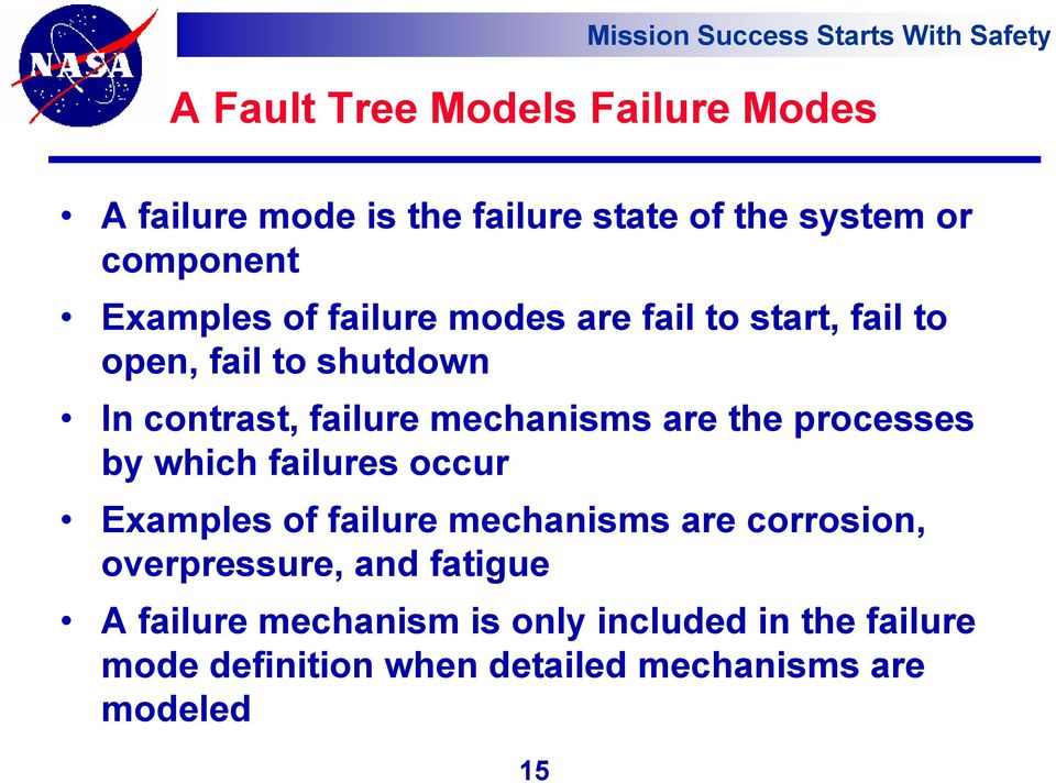 processes by which failures occur Examples of failure mechanisms are corrosion, overpressure, and fatigue