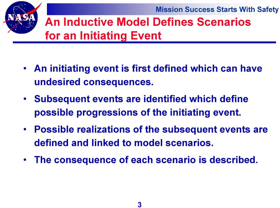 Subsequent events are identified which define possible progressions of the initiating event.