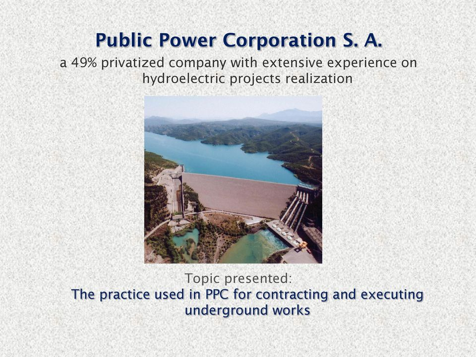on hydroelectric projects realization Topic