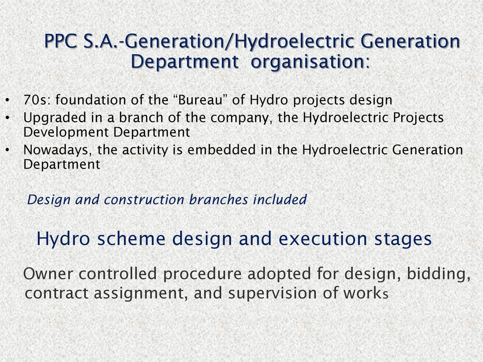 Upgraded in a branch of the company, the Hydroelectric Projects Development Department Nowadays, the activity is