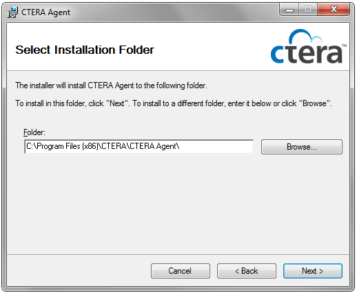 Install CTERA Agent for Windows 1 2 Click Next. The License Agreement dialog box appears. 3 Choose I Agree. 4 Click Next.