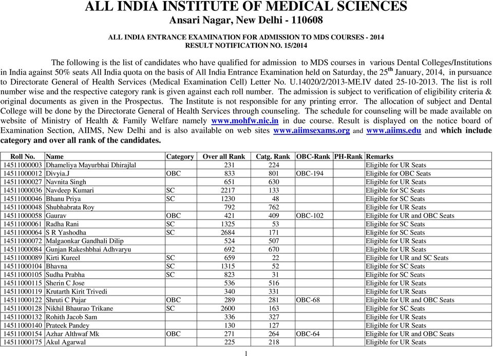 India Entrance Examination held on Saturday, the 25 th January, 2014, in pursuance to Directorate General of Health Services (Medical Examination Cell) Letter No. U.14020/2/2013-ME.
