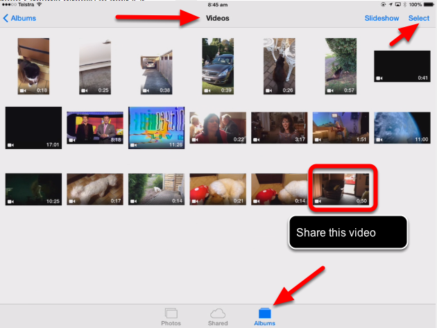 Take a video 1. Capture a video on your ipad or iphone (Running ios 7 or later). 2. Open the Photos app on your ios Device 3.