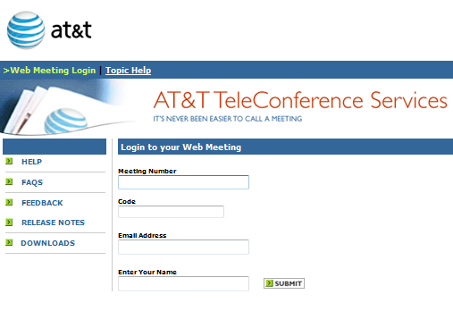 How Do I Join a Meeting? To join your meeting at the scheduled time: 1. Open a browser and go to https://www.webmeeting.att.com 2.