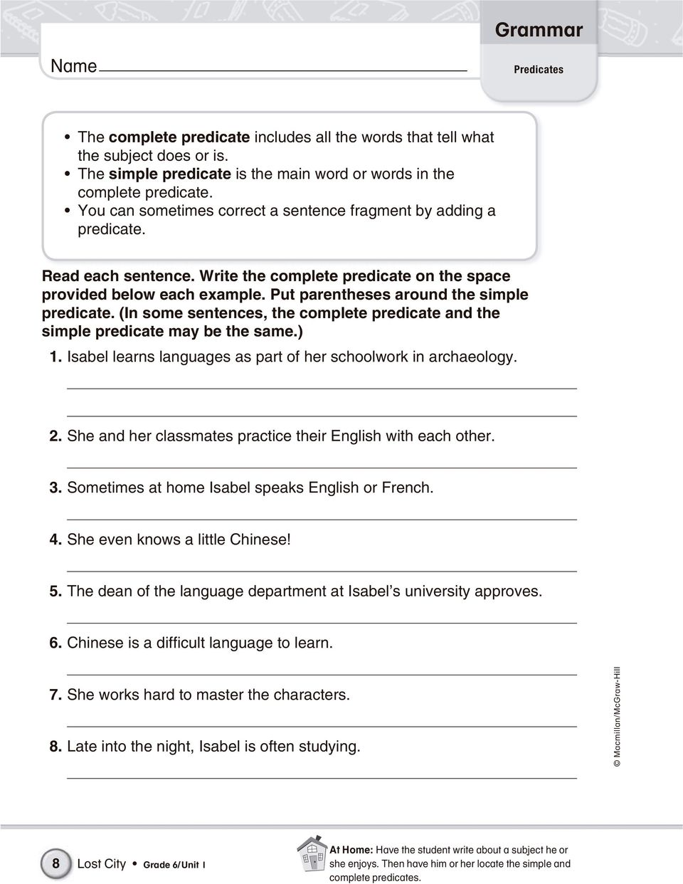 Grade 6 grammar practice book pdf put parentheses around the simple predicate in some sentences the complete predicate and fandeluxe Images