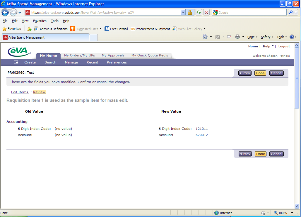 This screen indicates that the new accounting information has been added to