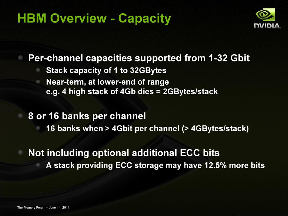 e.g. 4 high stack of 4Gb dies = 2GBytes/stack 8 or 16 banks per channel 16 banks when >