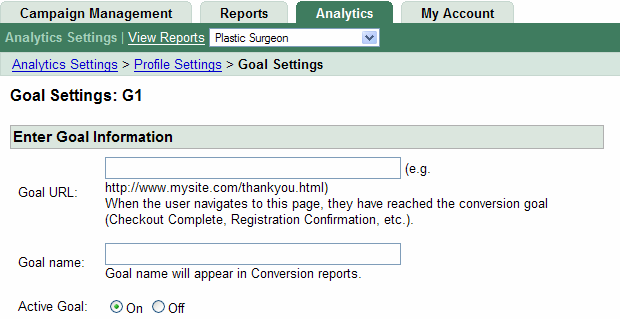 Setting Up Goals Goal Information 21 In the Goal URL field, type the web address that marks a successful conversion when reached.