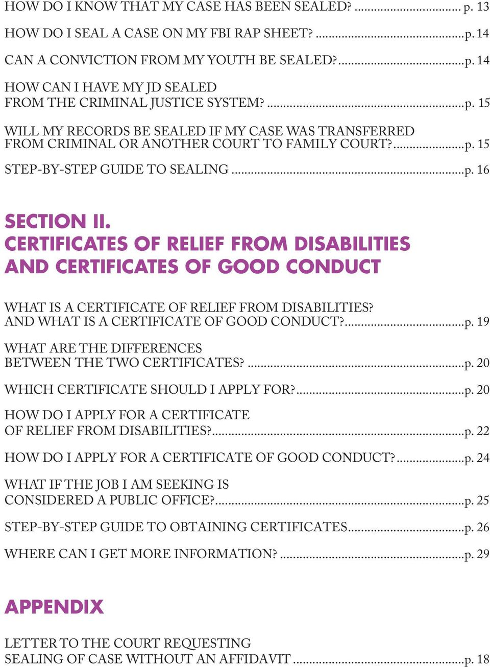 CERTIFICATES OF RELIEF FROM DISABILITIES AND CERTIFICATES OF GOOD CONDUCT WHAT IS A CERTIFICATE OF RELIEF FROM DISABILITIES? AND WHAT IS A CERTIFICATE OF GOOD CONDUCT?...p.