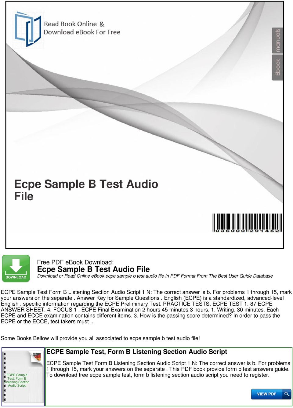 Ecpe sample b test audio file pdf english ecpe is a standardized advanced level english specific information regarding fandeluxe Choice Image