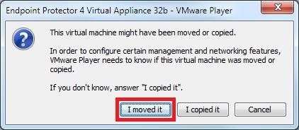 If asked if the Virtual Machine was copied or moved, select moved (if it is the only Endpoint