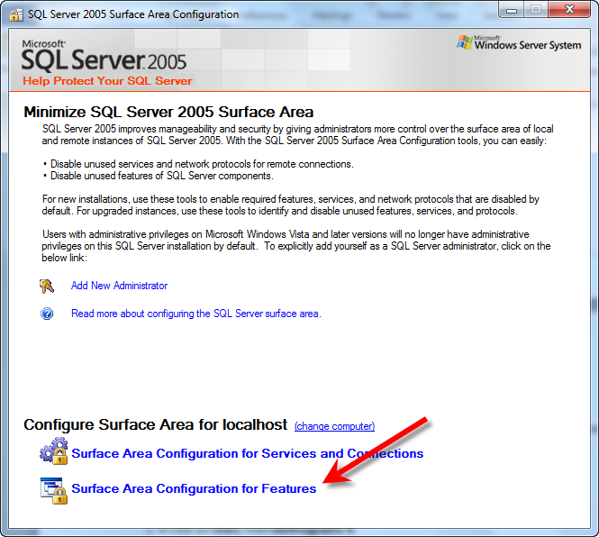 After the installation of SQL Server 2005 Express has been completed, there are a few configuration settings to adjust.