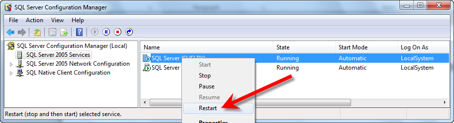 To restart the SQL Server Service, follow these steps: 1. Click on Start and then All Programs. 2. Select Microsoft SQL Server 2005. 3.
