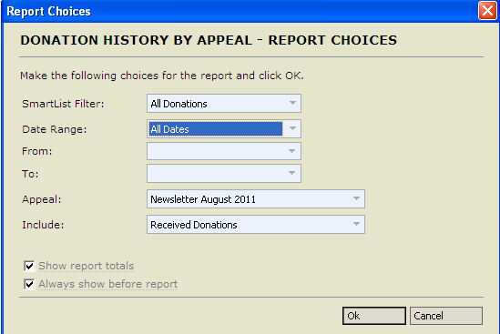 To see the results of individual appeals, go to the Donation History by Appeal report.