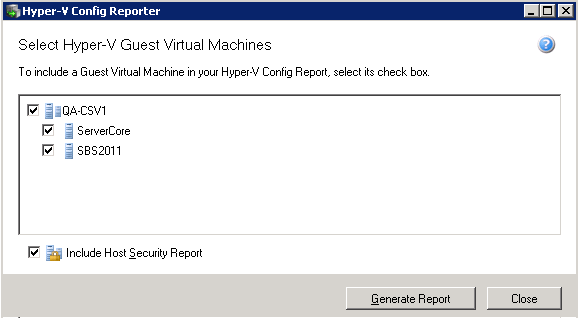 11. The Hyper-V Config Reporter Best practice backup standards require you to document the configurations of every important server so you can recreate or reconfigure it in the event of a major