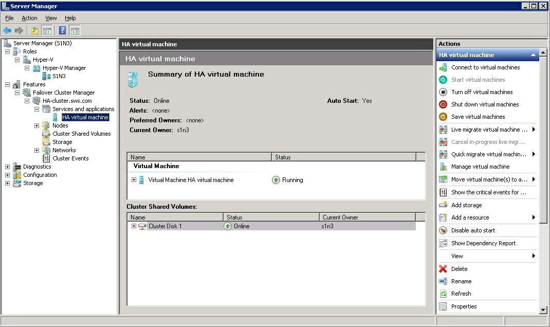 10. After configuring HA for the Virtual machine, power it on.
