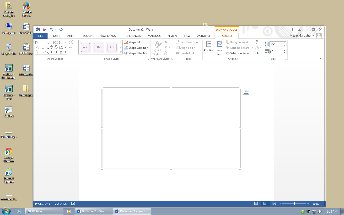 Drawing To draw in Word, go to the Insert Tab > Illustrations box > Shapes and click the New Drawing Canvas. A new toolbar will appear that is specific only to drawing tools.