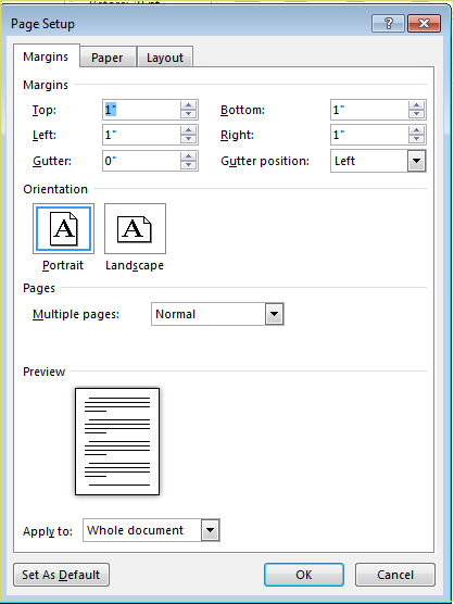 4. FORMATTING Formatting The Document The default page margins for Microsoft Word documents are 1 inch, but you may want to change them for a project.