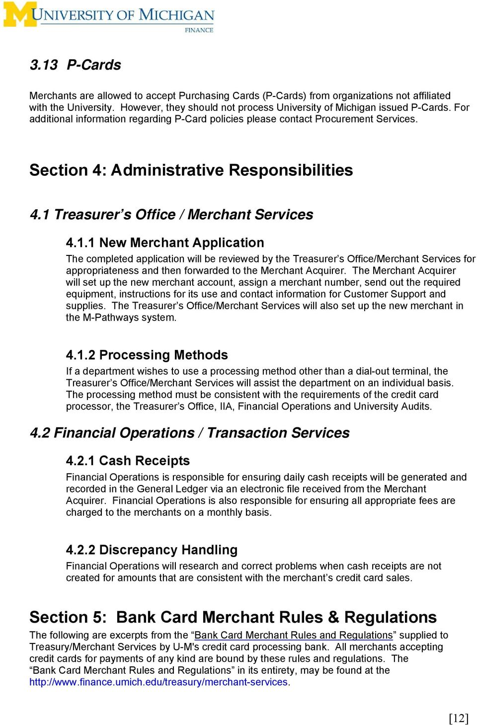 Treasurer s Office / Merchant Services 4.1.