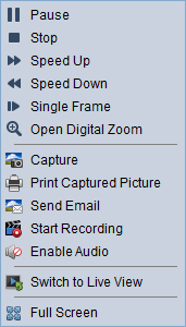 Single Frame Play back the record file frame by frame. Open Digital Zoom Enable the digital zoom function. Click again to disable the function.