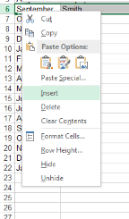 Rows and Columns Occasionally you will need to add extra rows or columns into the middle of your data. The buttons for doing this are located in the Cells group on the Home tab.