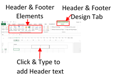Adding Headers and Footers in Page Layout View Ensure you are in the Page Layout View by clicking on this bottom right hand corner of the Excel Window Click in to the area in the top of the sheet