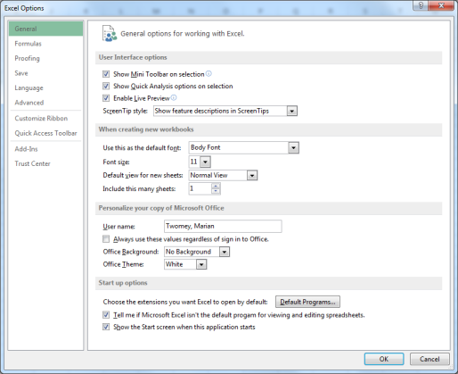 To set up Excel so it automatically opens a new workbook Click File then Options.