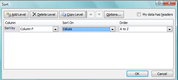 Sort Data in Single Column 1. Select a column of data in a range of cells 2.