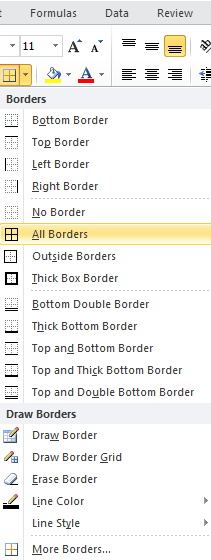 Cell Borders By using predefined border styles, you can quickly add a border around cells or ranges of cells. If predefined cell borders do not meet your needs, you can create a custom border.