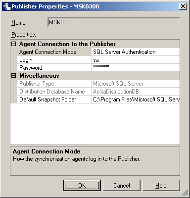 Quest ActiveRoles Server 4. In the Publishers list, select the entry representing the Publisher SQL Server, and click the button in that entry to display the Publisher Properties dialog box.