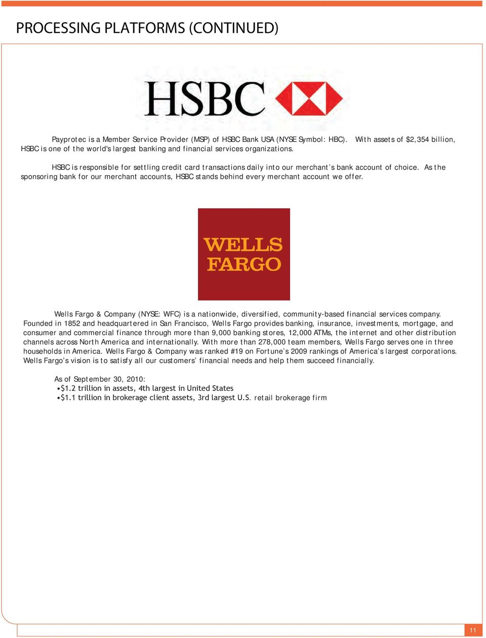 HSBC is responsible for settling credit card transactions daily into our merchant s bank account of choice.