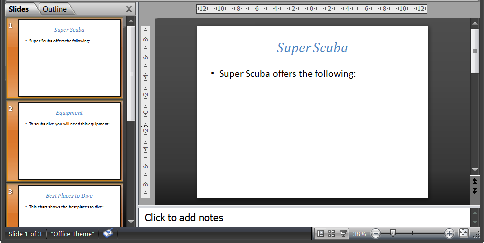 Task 1 Import the file SUPERSCUBA.RTF from the Section 16 Files Folder and place the text as slides in your presentation software. Remove any blank slides and save the presentation. 1.1 - Importing Text to Create Slides - How to do it: 1.