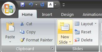 Manually Creating Slides: If you do not have an rtf file to use to create your PowerPoint slides you can create them