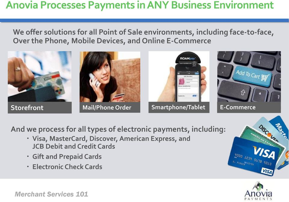 Smartphone/Tablet E-Commerce And we process for all types of electronic payments, including: Visa, MasterCard,