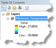 4. For the Input netcdf File value, type or browse to C:\NetCDF\temperature.nc. 5. Accept default values for Variable (tmin), X Dimension (lon), and Y Dimension (lat) parameters. 6.
