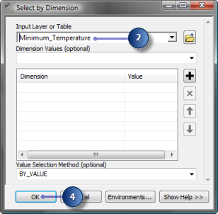 Returning to the default time step You can return to the default (the first) time step by changing the time dimension value on the Layer Properties dialog box, or you can run the Select by Dimension