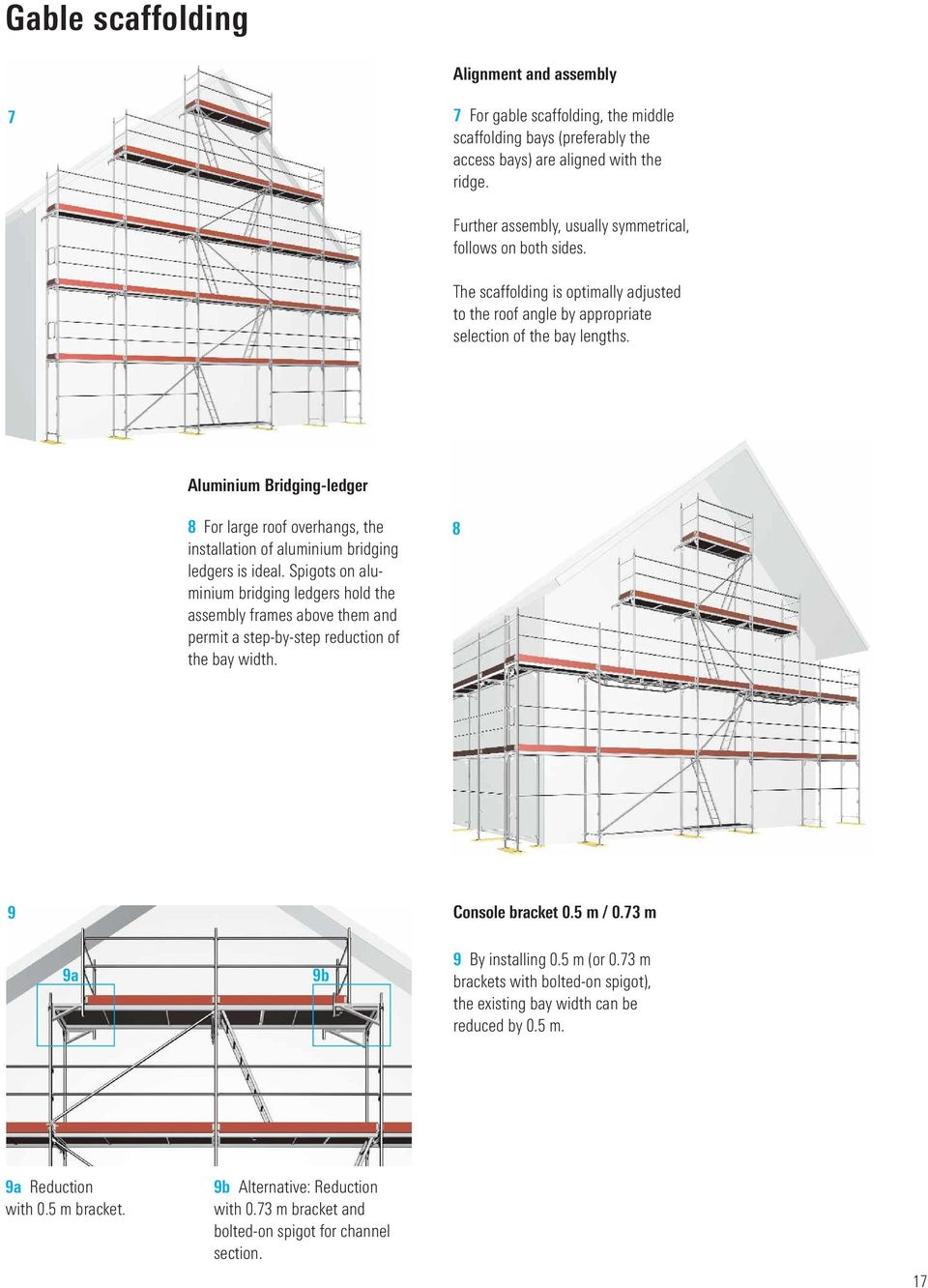 Aluminium Bridging-ledger 8 For large roof overhangs, the installation of aluminium bridging ledgers is ideal.