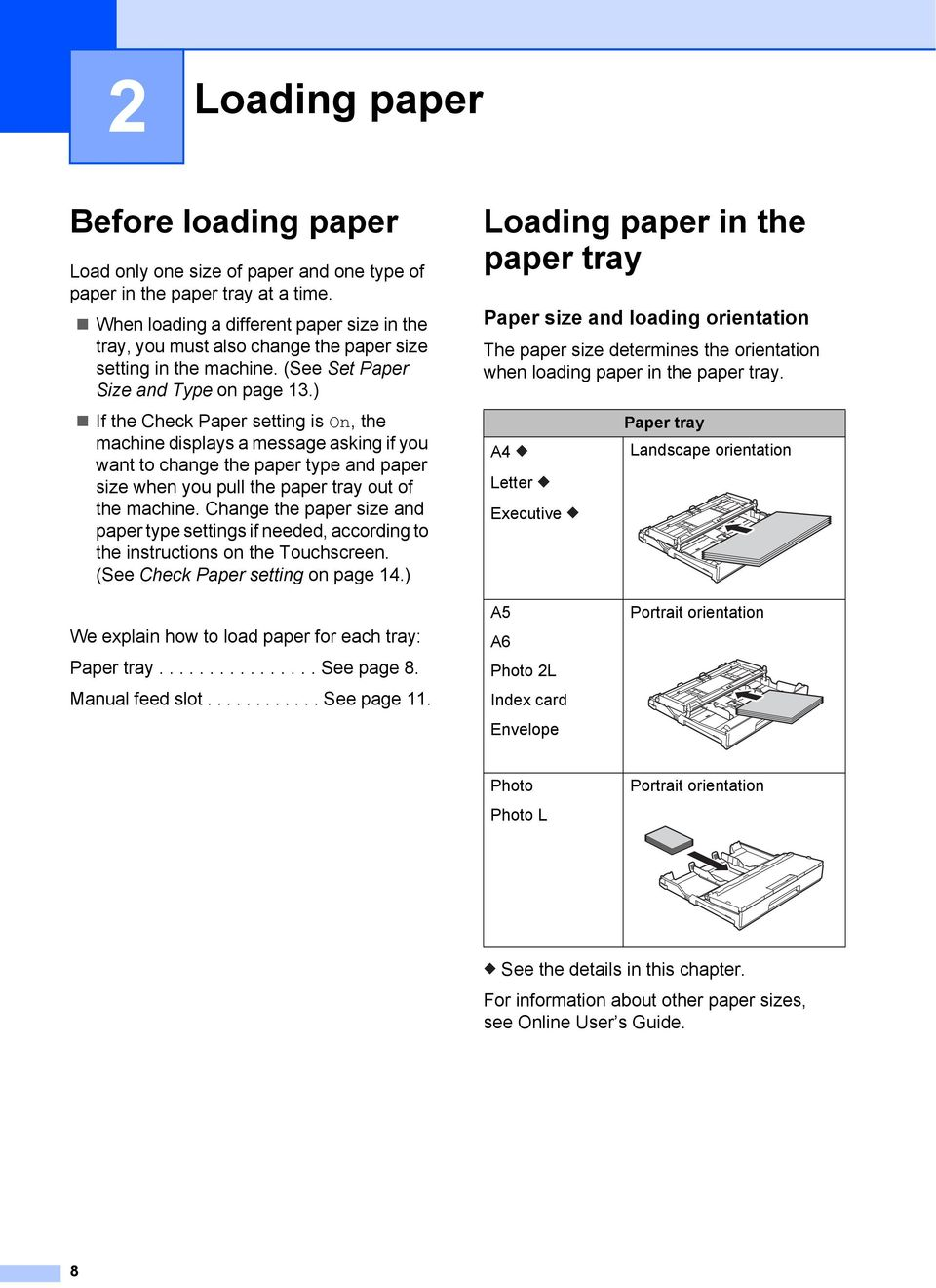 ) If the Check Paper setting is On, the machine displays a message asking if you want to change the paper type and paper size when you pull the paper tray out of the machine.