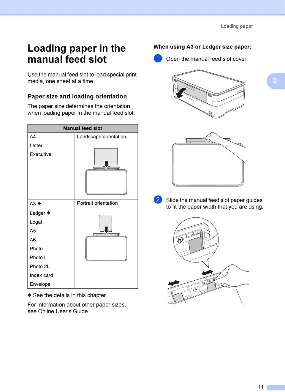 2 Paper size and loading orientation 2 The paper size determines the orientation when loading paper in the manual feed slot.