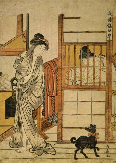 Right: TORII KIYONAGA, detail of Two Women at the Bath,